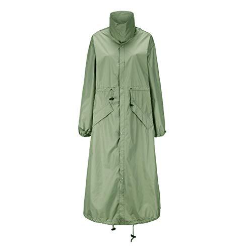 Colcolo Chaqueta de lluvia ligera impermeable larga para mujer con capucha para chicas adolescentes - Verde L