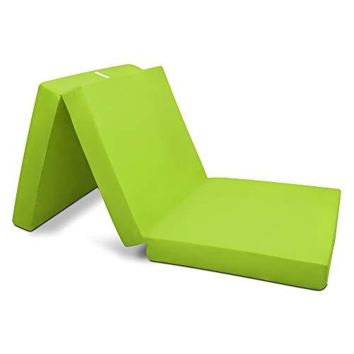 Beautissu Matelas Pliable Campix – Lit d'appoint - 60 x 190 cm - Confortable Matelas Pliant 1 Personne - Matelas Pliable Adulte Futon – Vert