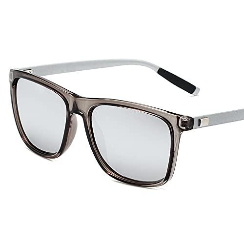 XINMAN Gafas de sol polarizadas para hombre con cambio de color personalizado a prueba de viento Retro Square Sunshade Gafas de sol transparente marco gris patas de plata blanco Mercury