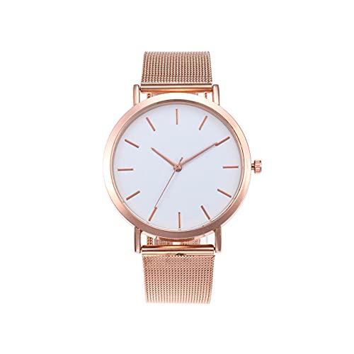 Hainice Reloj de Las Mujeres Correa de Acero Redondo clásico Dial Impermeable Reloj de Pulsera para la Ropa de Sport útil Duradera
