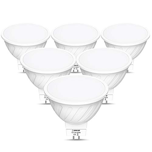 Lohas MR16 Ledlamp, koudwit 6000 K, 5 W vervangt 40 W halogeenlamp, 450 lm, niet dimbaar, lampen, led-plafondlamp, wandlamp, 12 V, 60 graden stralingshoek, verpakking van 6 stuks