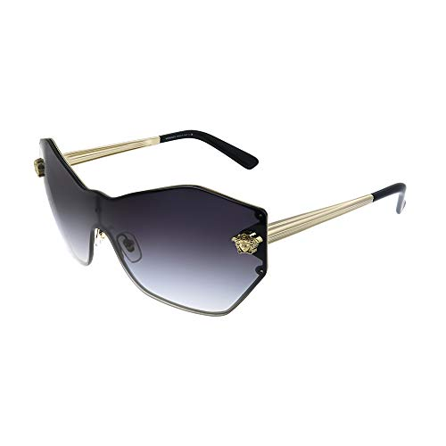 Versace Glam Medusa Shield VE 2182 12528G Pale Gold Metal Geometric Sunglasses Grey Gradient Lens