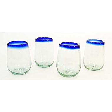 Set of 4, Blue Rimmed Stemless Wine Glasses-16 oz. Mexico