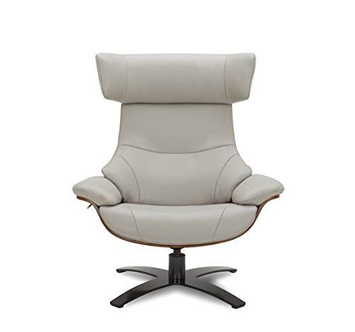 MND My New Design Relaxsessel, Design NAOS, Leder und Holzschale, Ergonomie und Komfort (Grau, Eiche Natur)