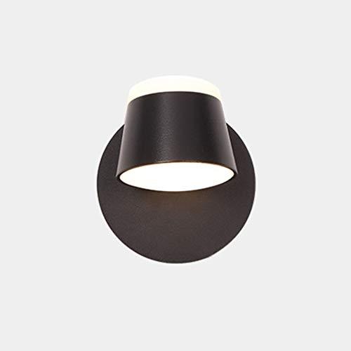 LED Lámpara de Pared Giratoria 350 ° Lámpara De Pared Dormitorio Interior Con Interruptor Táctil Regulable Negro Pequeño Metal Acrílico Luce de Lectura Luz De Noche Estudio Sala De Estar Plana 4500K