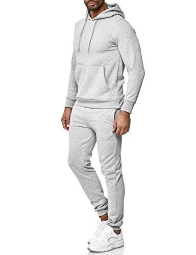 Baxboy Herren Uni Colour Jogging Anzug Trainingsanzug Sportanzug Fitness Sporthose Hose Hoodie H-500, Farbe:Grau, Größe:L
