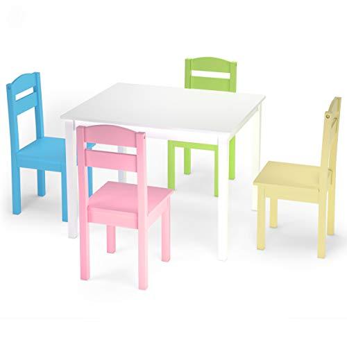 Goplus Set Mobile Tavolino con 4 Sedie per Bambini, Set Tavolo e Sgabello da Cameretta, Set Mobile Colorato, Populare tra Bambini, di Legno di Pino (Stile Fresco)