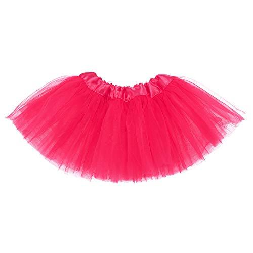 Ksnnrsng Mädchen Tüllrock Tutu Rock Minirock Tanzkleid Dehnbaren Tütü Röcke Ballettrock für Party Halloween Kostüme Tanzen (Rose rot, 2-8 Jahre)