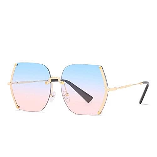 YHKF Gafas De Sol Unisex De Gran Tamaño De Moda para Mujer, Gafas De Sol De Diseño para Mujer, Uv400-Blue_Pink