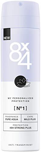 8X4 Deo Spray N°1 Pure Aqua (150 ml), Damen Deodorant mit frisch-floralem Duft, 48h zuverlässiger Anti-Transpirant-Schutz für sensible Haut