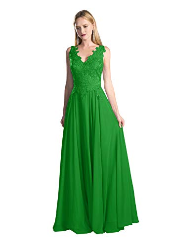 Plus Size Open Back V Neck Chiffon Bridesmaid Dress Long Lace Beaded Formal Evening Party Gown Emerald Green Customsize (Apparel)