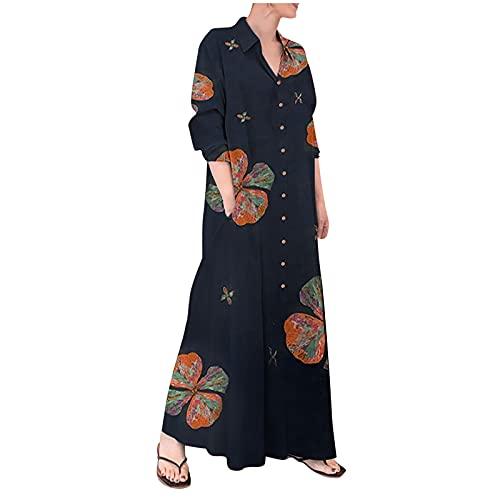 Damen Maxikleid Sommerkleid Kleider Boho Party Kleid Leinenkleid Strandkleid Lang Übergroßes T-Shirt Kleid mit Knopfleiste Langarm Maxi Sommerkleid
