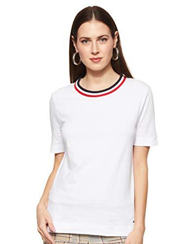 Tommy Hilfiger Damen Th Essential C-nk Top Ss Sport Pullover, Weiß (White YBR), 36 (Herstellergröße: Medium)