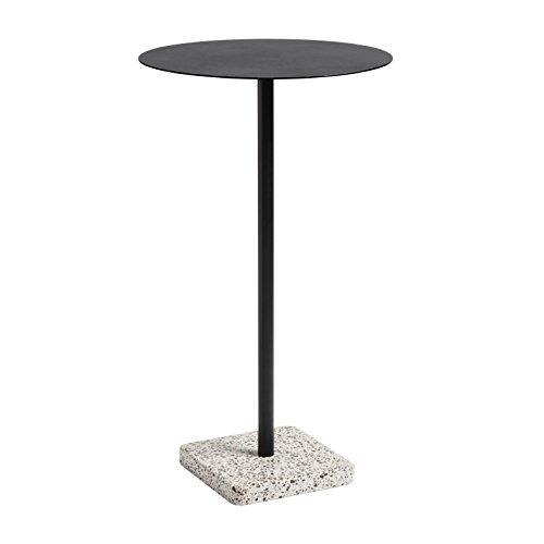 HAY terrazzo tafel hoog Ø 60 cm H 95cm/Tischfuß Terrazzo grau poliert anthrazit/pulverbeschichtet