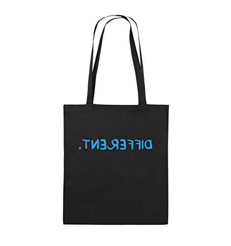 Comedy Bags - Different - GESPIEGELT - Jutebeutel - Lange Henkel - 38x42cm - Farbe: Schwarz/Blau