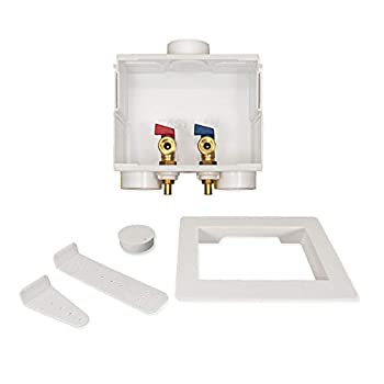 Eastman 60245 Washing Machine Outlet Box 1/2-inch PEX Recessed PVC Double Drain  White