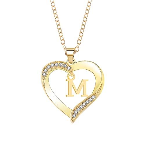 ROUNYY Halskette für Frau Mädchen 925 Sterling Diamant 26 Buchstaben Herz Muster Gold Verlobungsgeschenk Hochzeit Geburtstag | Frauen Schmuck | Geschenke für Frauen (M)