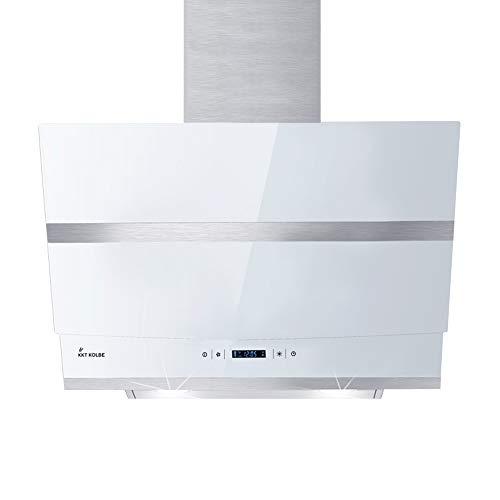 KKT KOLBE Kopffreie Dunstabzugshaube/Wandhaube / 60cm / Edelstahl/weißes Glas/WIFI/Extra-leise / 4 Stufen/RGBW-LED-Beleuchtung/TouchSelect Sensortasten/Nachlauf-automatik / HERMES607WM