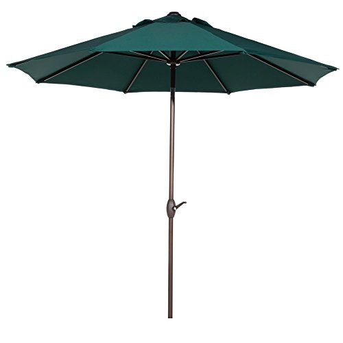 Abba Patio Outdoor Patio Umbrella 9 Feet Patio Market Table Umbrella with Push Button Tilt and Crank, Dark Green