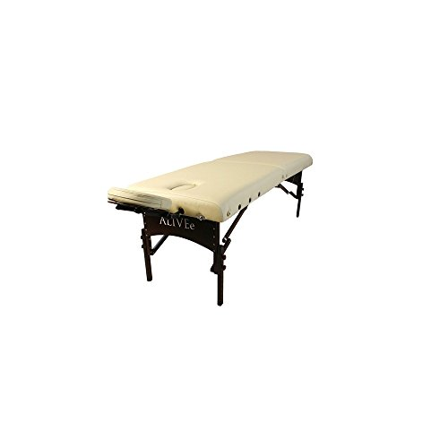 """ALIVEe Pythagoras II Tall Portable Massage Table with Free Massage Table accessories, 3"""" Foam and ALIVEe Cream Ultra Soft Leather Dark Finish"""