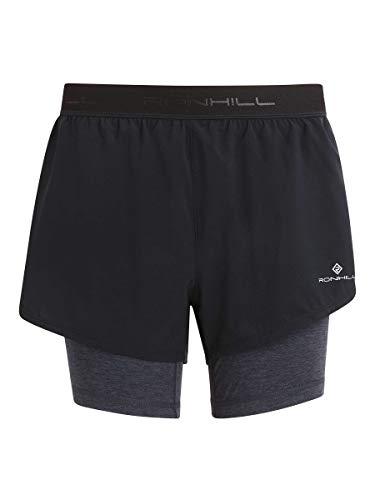 Ronhill Tech Twin Short para Mujer, Negro/carbón Marl, 16