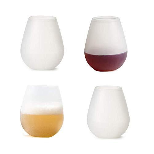 4 Stück tragbares Weinglas aus Silikon Weinglas faltbarer Bierkrug