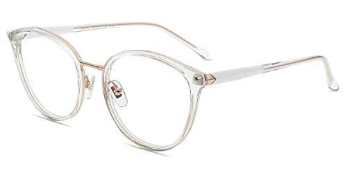 Firmoo Blaulicht Brille Damen Entspiegelt Ohne Sehstärke, Panto Computerbrille mit Blaulichtfilter Anti Müdigkeit Kopfschmerzen, Retro Runde Brille UV Blaulichtschutz Bildschirmebrille Transparent