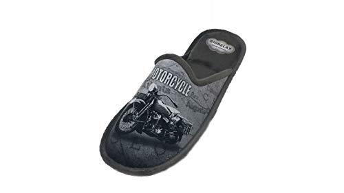 Zapatillas de Estar por casa/Hombre/Biorelax/Moto Gris/Cámara de Aire/Empeine Grenoble/Suela Goma/Talla 45