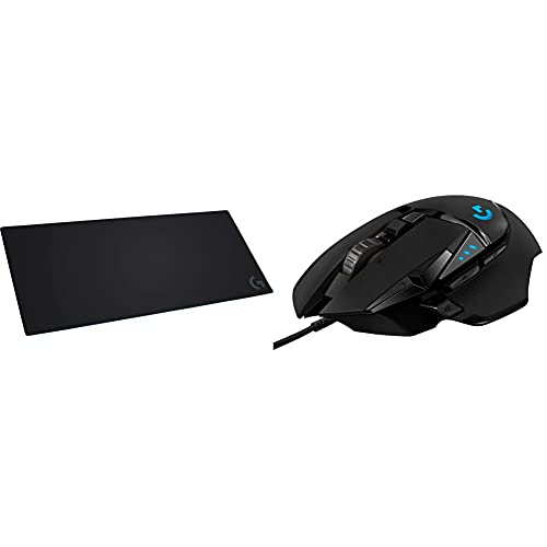 Logitech G840 XL Cloth Gaming Mouse Pad & 502 Hero High Performance Wired Gaming Mouse, Hero 25K Sensor, 25,600 DPI, RGB, Adjustable Weights, 11 Programmable Buttons, On-Board Memory, PC / Mac