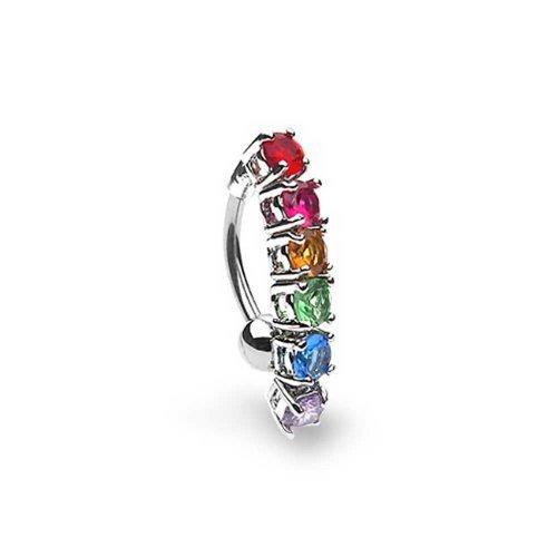 Gay Pride Regenbogen Zirkonia Multi Color CZ Top Drop Bauchnabel Barbells Ringe Aus Silber Ton Chirurgischer Stahl 14G
