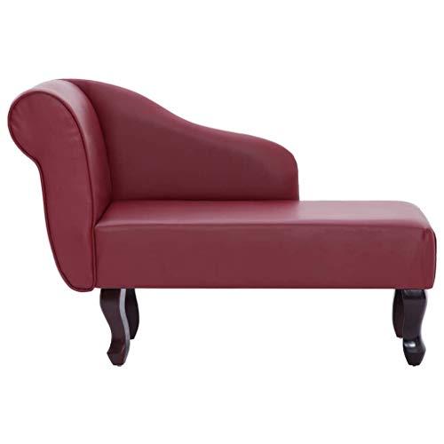 Tidyard Chaiselongue Kunstleder Récamiere Antik Lounge Sofa Couch,Gesamtabmessungen:108 x 53 x 68 cm (B x T x H),Weinrot