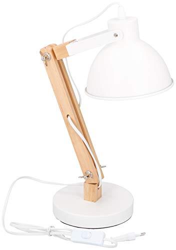 GRUNDIG Tischleuchte mit Holzfuß und Metallschirm 07029