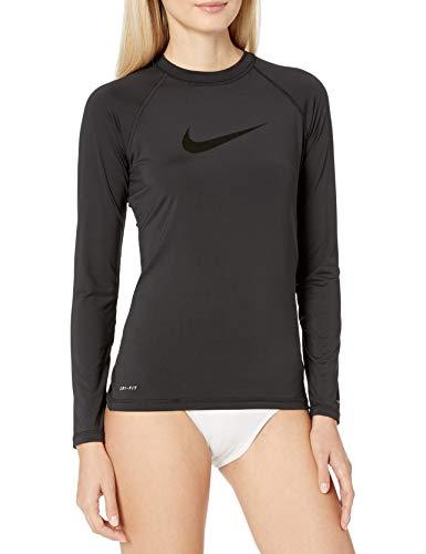 Nike Swim Women's UPF 40+ Long Sleeve Rashguard Swim Tee, Black Tonal Swoosh, Large