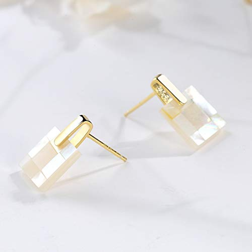 Pendientes de concha cuadrada de plata esterlina estilo viento S925, pendientes de costura de nácar geométricos de lujo con luz creativa femenina