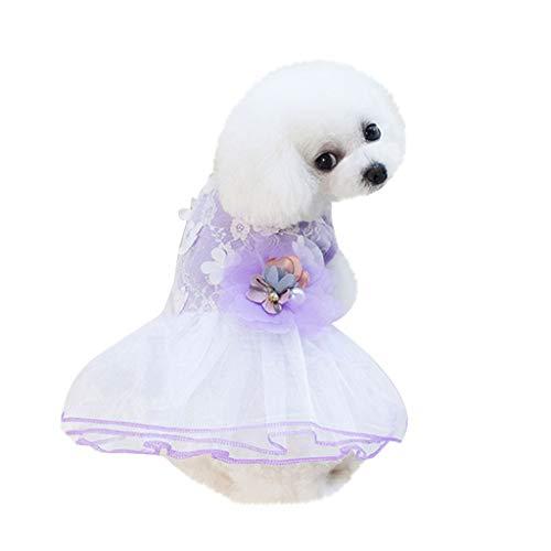 YWLINK Hunde Haustier Retro TräUmen Party Prinzessin Rock 3D Blume Drucken Kleidung Katze Spitze Mesh Patchwork Atmungsaktives Kleid(XS,Lila)