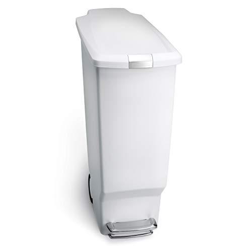 simplehuman, poubelle étroite à pédale, plastique blanc, 40 litres