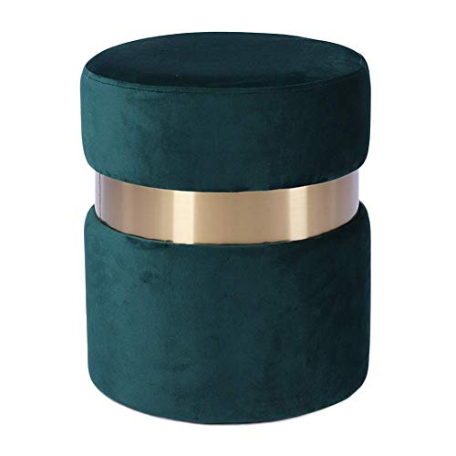 weiwei Round Pouffe Footstool,Velvet Ottoman Pouffe Stool,upholstered Dressing Table Stool Change Shoe Footrest for Living Room Bedroom Dark Green 37x37x44cm