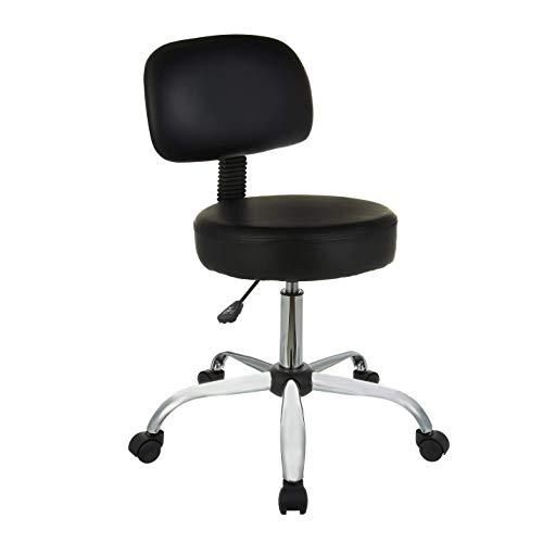 AmazonBasics Multi-Purpose Drafting Spa Bar Stool with Back Cushion and Wheels - Black
