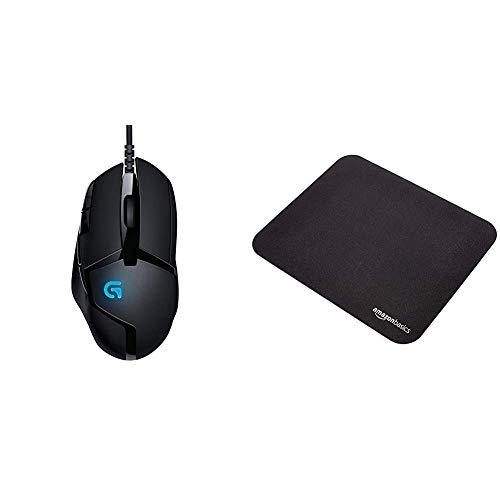 Logitech G402 Hyperion Fury Gaming-Maus, 4000 DPI Optischer Sensor, 8 Programmierbare Tasten, Taste zur DPI-Umschaltung, 32-Bit-ARM-Prozessor & AmazonBasics - Gaming-Mauspad