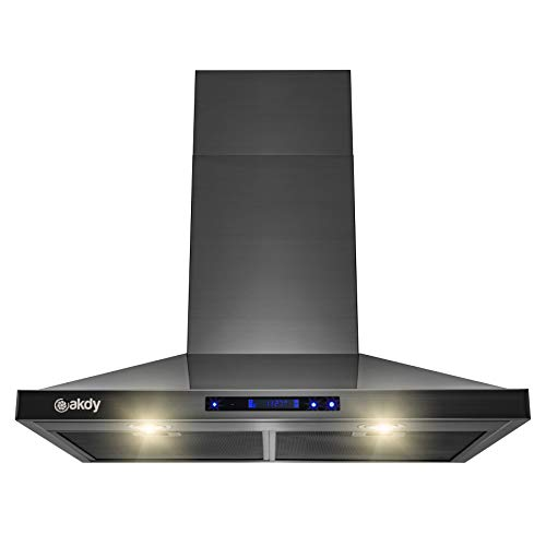 AKDY 30 in. 343 CFM Convertible Wall Mount Black Stainless Steel Kitchen Range Hood with Touch Panel and Carbon Filters