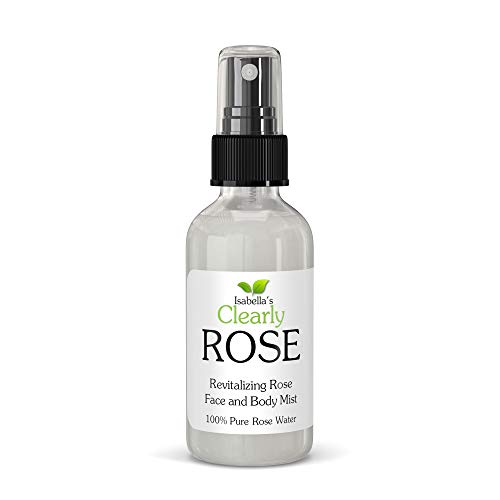 Isabella's Clearly ROSE, 100% Pure Rose Petal Water, Hydrating Spray, Revitalizing Body Mist   Alcohol Free Aromatherapy for the Hair, Body and Mind. No Additives   Glass Bottle   Made in USA