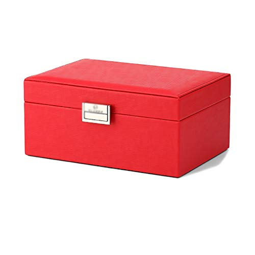 WXIANG Joyero Caja de joyería Organizador de joyería con Espejo 2 Capas Reloj Organizador Collar Anillo Anillo Pendiente Caja de joyería (Color : Red)