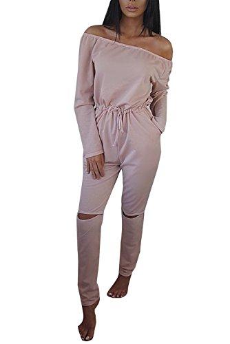 Minetom Damen Lässig Langarm Hosenanzug Jumpsuits Elegant Trägerlos Overall Strand Partei Spielanzug Lange Hose Pink DE 36