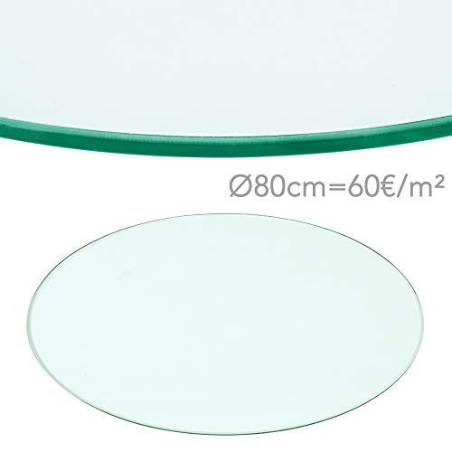 Rapid Teck® 60€/m² Glasplatte Rund Durchm. 800 mm Glastisch Tischplatte aus gehärtetem Glas Tisch Glasscheibe 8mm Dick
