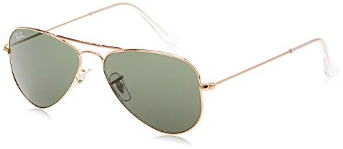 Ray-Ban RB3044 Aviator Small Metal Sunglasses, Gold/Green, 52 mm