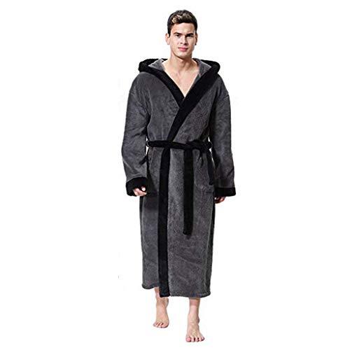 Heren badjas met capuchon winter fleece ochtendjas lange mannen hoofdkleding mantel warme pyjama wikkeljurk met zakken