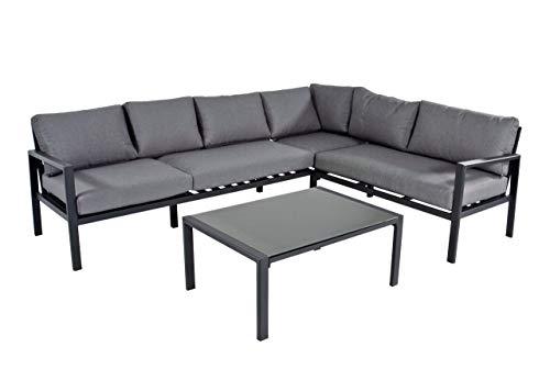 lifestyle4living Loungemöbel Set (Premium) aus Aluminium, Anthrazit, wetterfest, 2-teilig | Modernes Garten Lounge Set mit Aluminiumgestell für 4 Personen