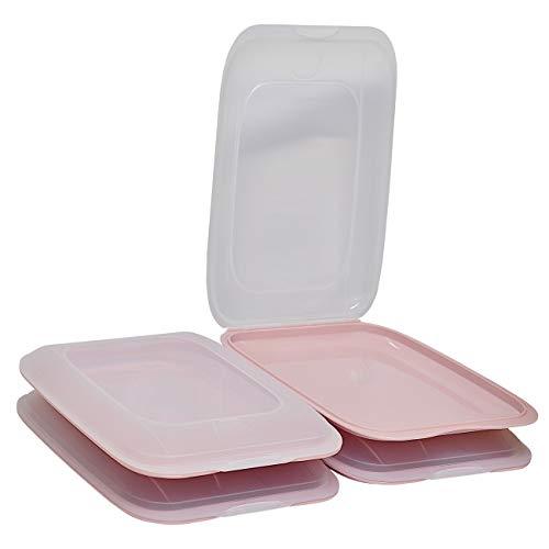 ENGELLAND - Hochwertige stapelbare Aufschnitt-Boxen, Frischhaltedose für Aufschnitt. Wurst Behälter. Perfekte Ordnung im Kühlschrank, 4 Stück Farbe Rosa, Maße 25 x 17 x 3.3 cm