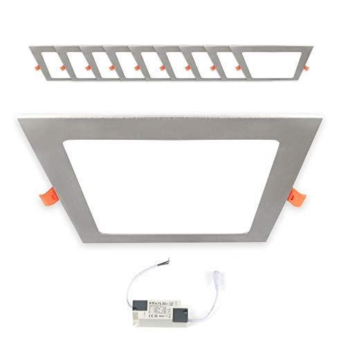 10x LED Einbaupanel eckig 12W Warmweiß 3000K 170x170mm Einbauleuchte silber Einbaustrahler Spot Deckenlampe inkl. Trafo Xtend PLm