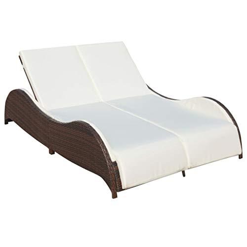 vidaXL Chaise Longue Double avec Coussin Bain de Soleil de Jardin Transat de Patio Chaise Longue d'Extérieur Terrasse Plage Résine Tressée Marron